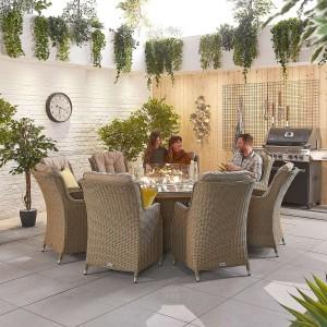 Nova Garden Furniture Thalia Willow Rattan 8 Seat Round Dining Set with Fire Pit Table