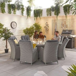 Nova Garden Furniture Thalia White Wash Rattan 8 Seat Round Dining Set with Fire Pit Table