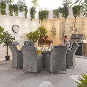 Nova Thalia Slate Grey Rattan 8 Seat Round Dining Set with Fire Pit Table
