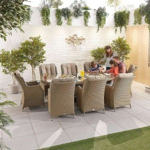 Nova Garden Furniture Thalia Willow Rattan 8 Seat Oval Dining Set