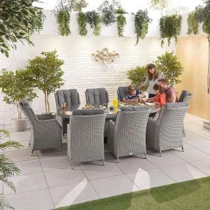 Nova Garden Furniture Thalia White Wash Rattan 8 Seat Oval Dining Set