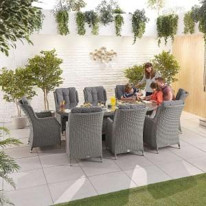 Nova Garden Furniture Thalia Slate Grey Rattan 8 Seat Oval Dining Set