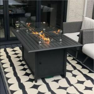 Nova Garden Furniture Milano Mercury Rectangular Aluminium Fire Pit Table
