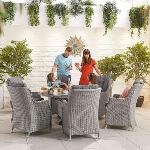 Nova Garden Furniture Thalia White Wash Rattan 6 Seat Round Dining Set