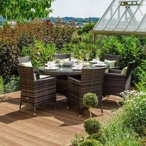 Nova Garden Furniture Amelia Brown Weave 6 Seat Oval Dining Set