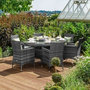 Nova Garden Furniture Amelia Grey Weave 6 Seat Oval Dining Set