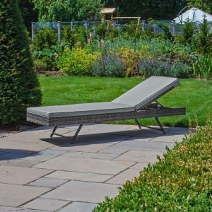 Nova Garden Furniture Eva Grey Weave Folding Sun Lounger