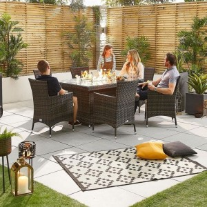 Nova Garden Furniture Amelia Brown Weave 6 Seat Rectangular Dining Set with Fire Pit