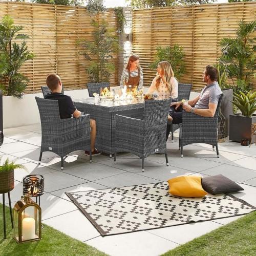 Nova Garden Furniture Amelia Grey Weave 6 Seat Rectangular Dining Set with Fire Pit