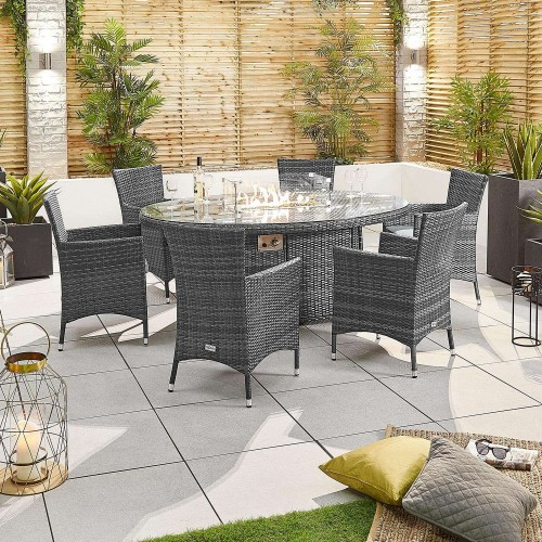 Nova Garden Furniture Amelia Grey Weave 6 Seat Oval Dining Set with Fire Pit