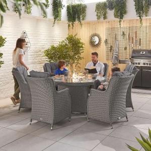 Nova Garden Furniture Thalia Slate Grey Rattan 6 Seat Round Dining Set with Fire Pit Table