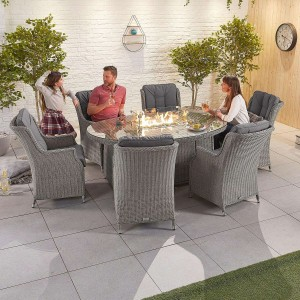 Nova Garden Furniture Thalia White Wash Rattan 6 Seat Oval Dining Set with Fire Pit Table