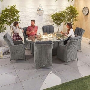 Nova Garden Furniture Thalia Slate Grey Rattan 6 Seat Oval Dining Set with Fire Pit Table