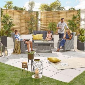 Nova Garden Furniture Thalia White Wash Rattan 2 Seater Sofa Set