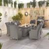 Nova Garden Furniture Thalia White Wash Rattan 8 Seat Rectangular Dining Set with Fire Pit Table