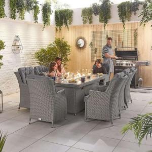 Nova Garden Furniture Thalia Slate Grey Rattan 8 Seat Rectangular Dining Set with Fire Pit Table