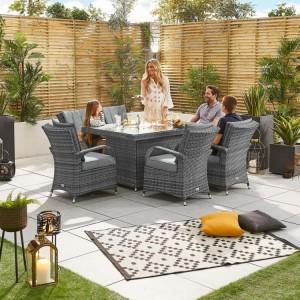Nova Garden Furniture Olivia Grey Weave 6 Seat Rectangular Dining Set with Fire Pit