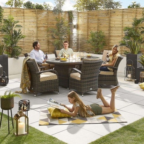 Nova Garden Furniture Olivia Brown Weave 6 Seat Oval Dining Set with Fire Pit
