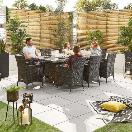 Nova Garden Furniture Amelia Brown Weave 8 Seat Rectangular Dining Set