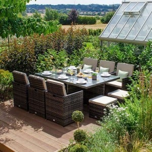 Nova Garden Furniture Celia Brown Weave 6 Seat Rectangular Cube Set