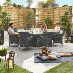 Nova Garden Furniture Amelia Grey Weave 8 Seat Round Dining Set with Fire Pit