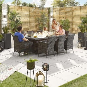 Nova Garden Furniture Amelia Brown Weave 8 Seat Rectangular Dining Set with Fire Pit