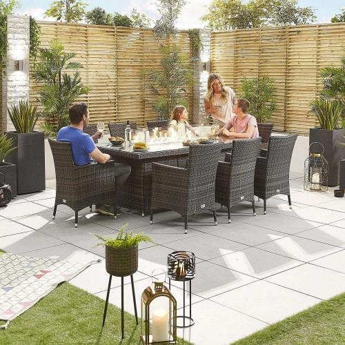 Nova Garden Furniture Amelia Brown Weave 8 Seat Rectangular Dining Set with Fire Pit