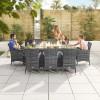 Nova Garden Furniture Amelia Grey Weave 8 Seat Rectangular Dining Set with Fire Pit