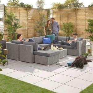 Nova Garden Furniture Chelsea White Wash Rattan 2A Corner Sofa Set with Coffee Table