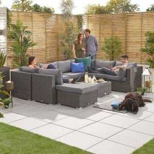 Nova Garden Furniture Chelsea Slate Grey Rattan 2A Corner Sofa Set with Coffee Table