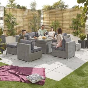 Nova Garden Furniture Chelsea White Wash Rattan 2B Corner Sofa Set with Rising Table