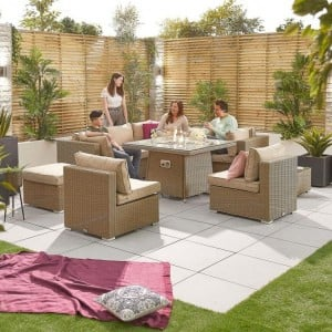 Nova Garden Furniture Chelsea Willow Rattan 2C Corner Sofa Set with Fire Pit Table