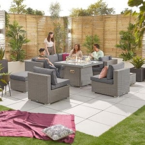 Nova Garden Furniture Chelsea White Wash Rattan 2C Corner Sofa Set with Fire Pit Table
