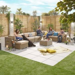 Nova Garden Furniture Chelsea Willow Rattan 3A Corner Sofa Set with Coffee Table
