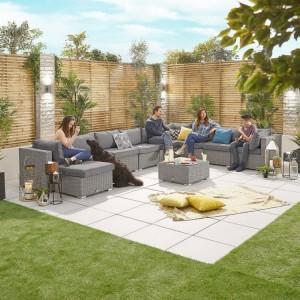 Nova Garden Furniture Chelsea White Wash Rattan 3A Corner Sofa Set with Coffee Table