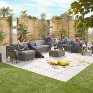 Nova Garden Furniture Chelsea Slate Grey Rattan 3A Corner Sofa Set with Coffee Table