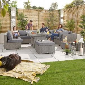 Nova Garden Furniture Chelsea White Wash Rattan 3B Corner Sofa Set with Rising Table