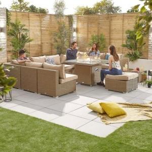 Nova Garden Furniture Chelsea Willow Rattan 3C Corner Sofa Set with Fire Pit Table