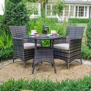 Nova Garden Furniture Amelia Brown Weave 2 Seat Bistro Set