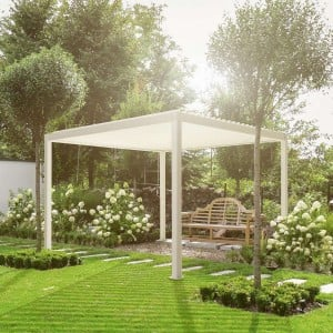 Nova Garden Furniture White 3m Square Aluminium Pergola