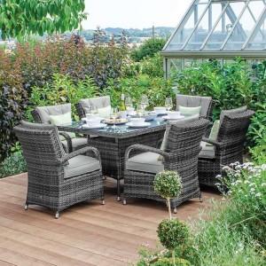 Nova Garden Furniture Olivia Grey Weave 6 Seat Rectangular Dining Set