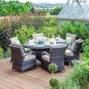 Nova Garden Furniture Olivia Brown Weave 6 Seat Oval Dining Set