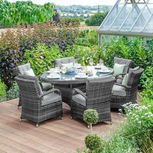 Nova Garden Furniture Olivia Grey Weave 6 Seat Oval Dining Set