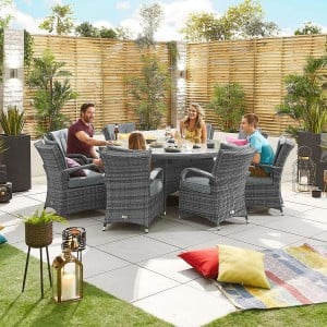 Nova Garden Furniture Olivia Grey Weave 8 Seat Round Dining Set