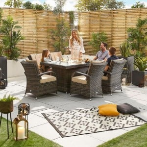 Nova Garden Furniture Olivia Brown Weave 6 Seat Rectangular Dining Set with Fire Pit