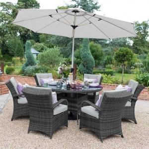 Nova Garden Furniture Olivia Grey Weave 6 Seat Round Dining Set