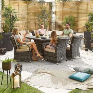 Nova Garden Furniture Olivia Brown Weave 6 Seat Rectangular Dining Set