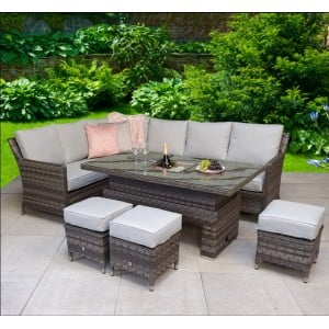 Signature Weave Garden Furniture Edwina Grey Corner Dining Set with Lift Table & Ice Bucket