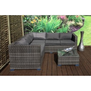 Signature Weave Garden Furniture Georgia Grey Compact Corner Lounge Set