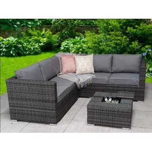 Signature Weave Garden Furniture Georgia Grey Corner Sofa Set with Coffee Table & Ice Bucket